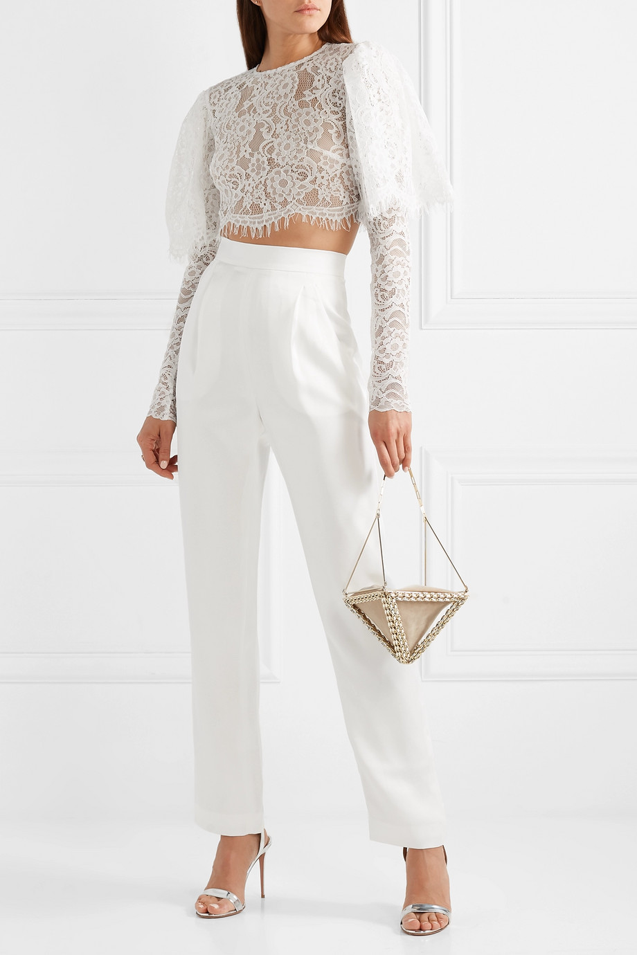 RASARIO Cropped lace top