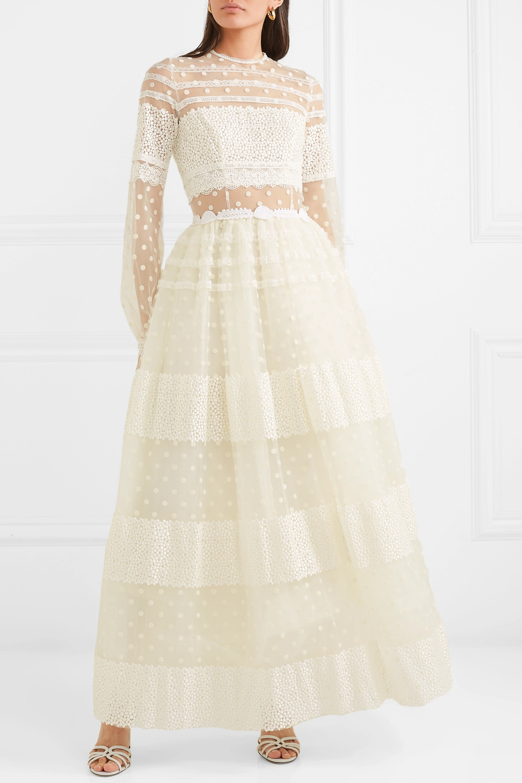 Costarellos Lace-paneled polka-dot flocked tulle gown