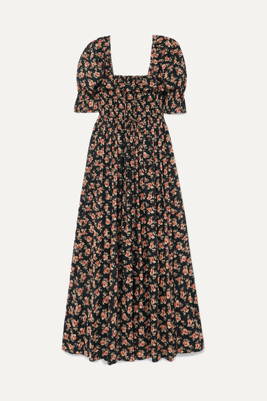 Sol Shirred Floral Print Cotton Voile Maxi Dress by DÔen
