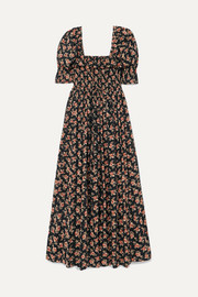 DÔEN Sol shirred floral-print cotton-voile maxi dress