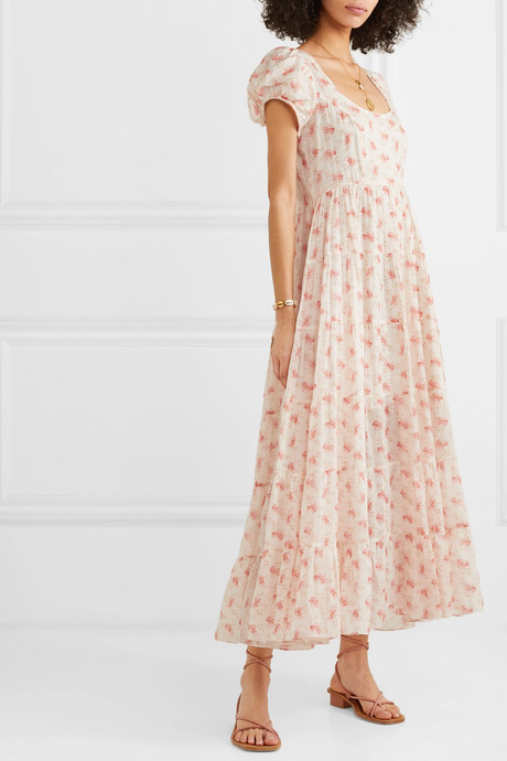 Ruby tiered floral-print cotton-voile maxi dress
