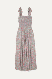 DÔEN Jasmine shirred floral-print cotton-poplin maxi dress