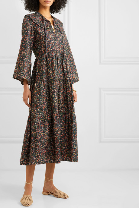 Honey tiered floral-print cotton dress