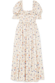 DÔEN Sol shirred floral-print Swiss-dot cotton-voile maxi dress