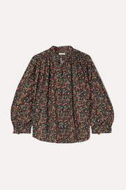 DÔEN Rose gathered floral-print cotton-poplin blouse