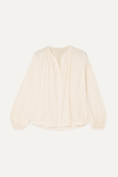 The Jane Gathered Cotton Blend Voile Blouse by DÔen