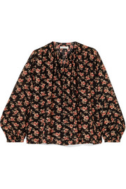 DÔEN The Jane gathered floral-print cotton-voile blouse