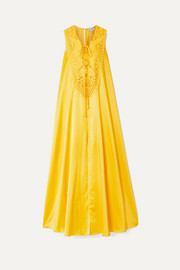 Miguelina Lana crochet-trimmed silk and cotton-blend maxi dress