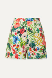 Miguelina Joone crochet-trimmed printed cotton-voile shorts