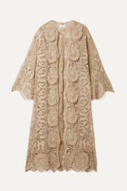 Miguelina Mia scalloped cotton guipure lace robe