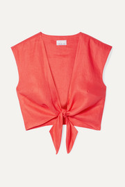 Marcy cropped tie-front linen top