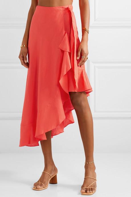 Liviona ruffled linen wrap skirt