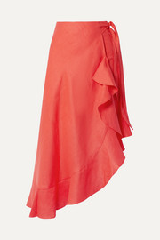 Liviona ruffled linen wrap skirt