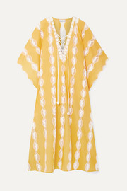 Miguelina Blair crochet-trimmed cotton-voile kaftan