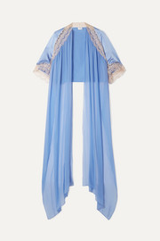 Miguelina MJ lace-trimmed silk-charmeuse and chiffon cape
