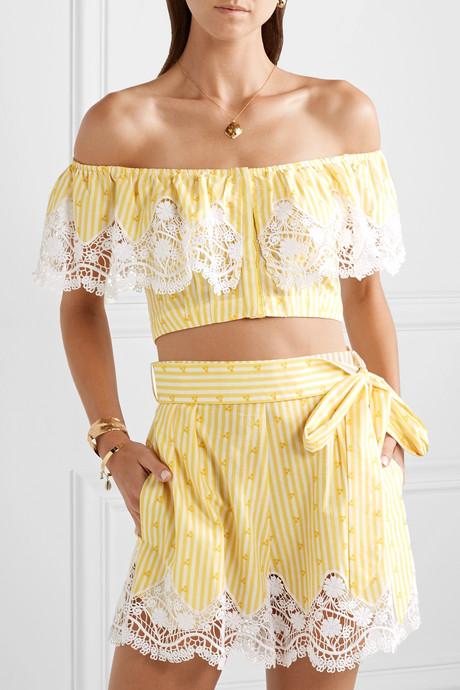 Jenna off-the-shoulder crochet-trimmed striped cotton-voile top