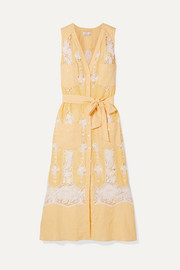 Miguelina Alexia belted crochet-trimmed linen dress