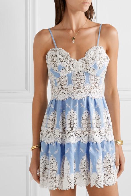 Sara crochet-trimmed linen mini dress