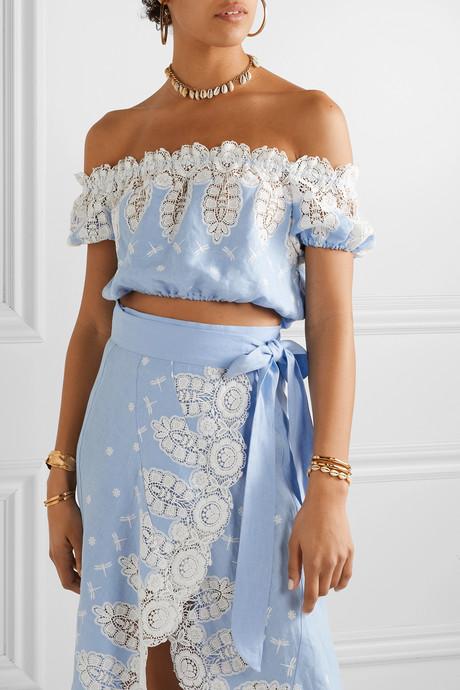 Tessa off-the-shoulder cropped crochet-trimmed linen top