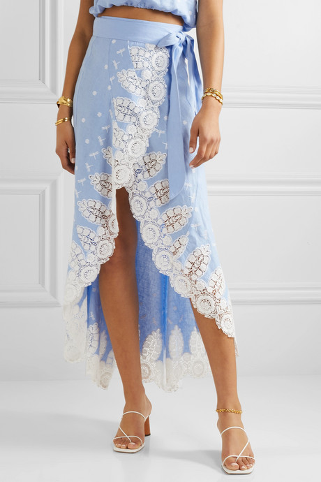 Clarice crochet-trimmed linen wrap skirt