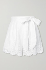 Liana guipure lace-trimmed linen shorts