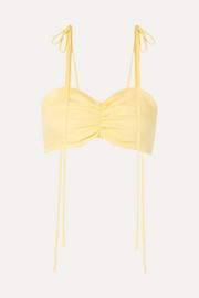 Miguelina Gracie gathered linen bralette
