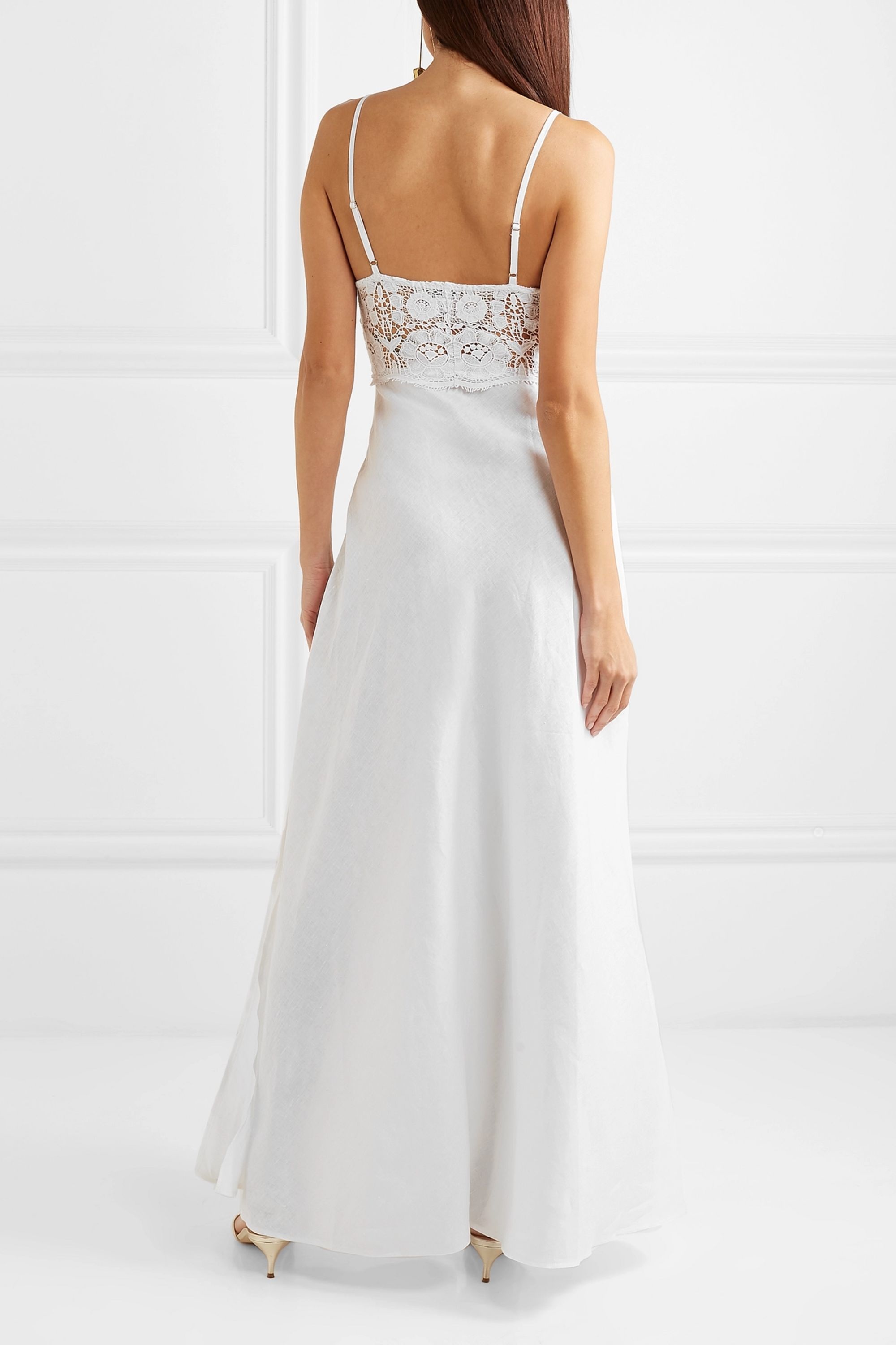 Miguelina Alessandra linen and lace maxi dress