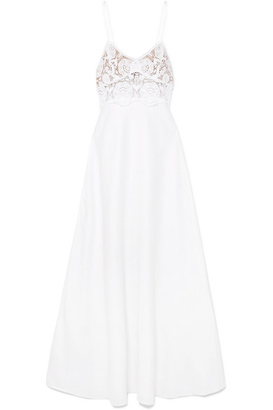 Miguelina Dresses ALESSANDRA LINEN AND LACE MAXI DRESS