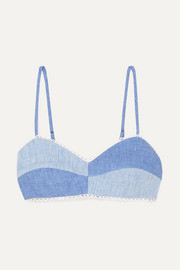 Miguelina Crochet-trimmed two-tone linen-chambray bralette