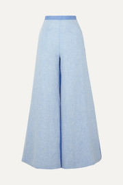 Miguelina Pamela two-tone linen-chambray wide-leg pants