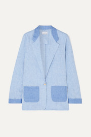 Miguelina Bleeker two-tone linen-chambray blazer