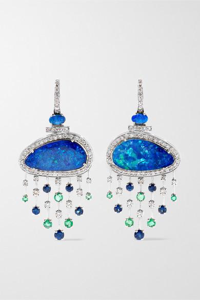 AMRAPALI 18-Karat White Gold Multi-Stone Hoop Earrings in Blue