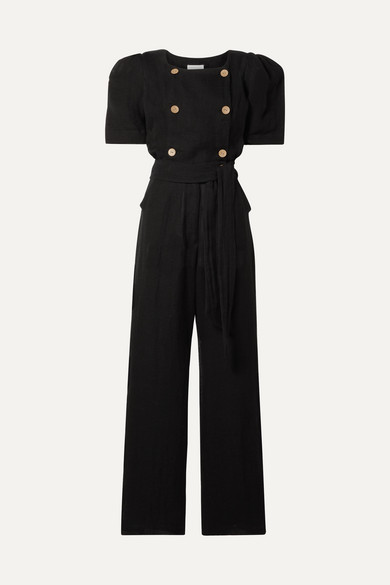 Diana Belted Double Breasted Linen Blend Gauze Jumpsuit by Lisa Marie Fernandez