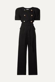 Lisa Marie Fernandez Diana belted double-breasted linen-blend gauze jumpsuit