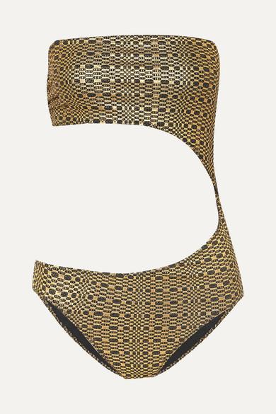 LISA MARIE FERNANDEZ | Lisa Marie Fernandez - Cutout Metallic Seersucker Bandeau Swimsuit - Gold | Goxip