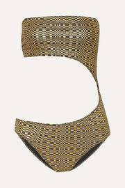 Lisa Marie Fernandez Cutout metallic seersucker bandeau swimsuit