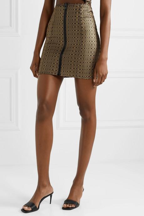 Metallic seersucker mini skirt