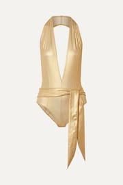 Lisa Marie Fernandez Riri belted metallic stretch-crepe halterneck swimsuit