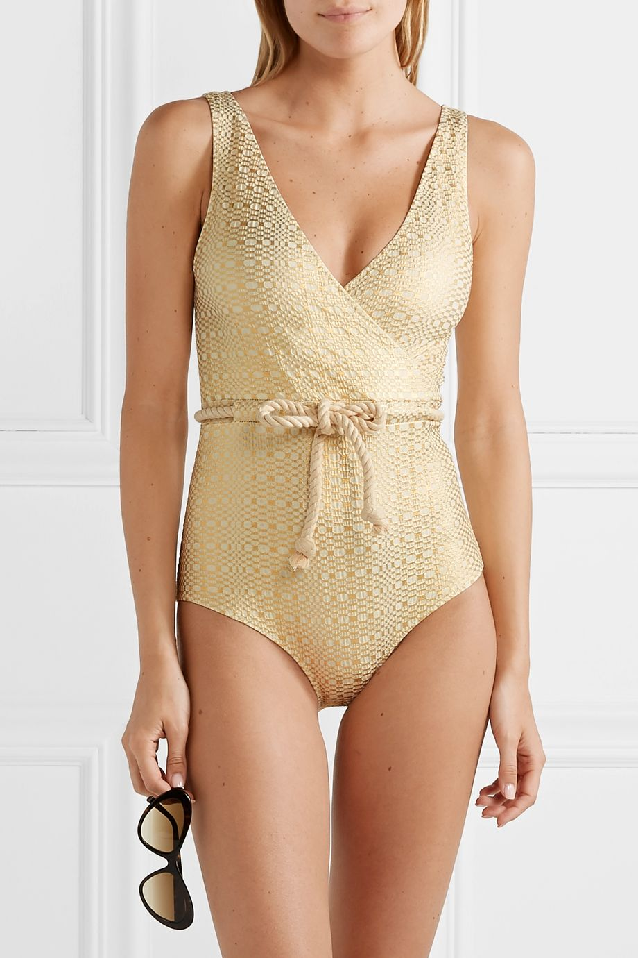Lisa Marie Fernandez Yasmin belted metallic seersucker swimsuit