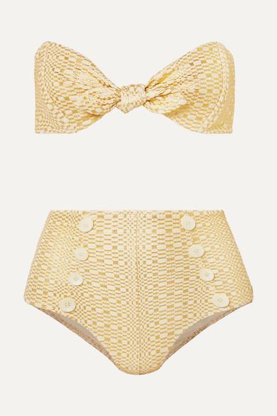 LISA MARIE FERNANDEZ | Lisa Marie Fernandez - Poppy Knotted Metallic Seersucker Bikini - Neutral | Goxip