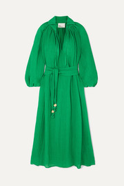 Lisa Marie Fernandez Poet belted linen-blend maxi dress