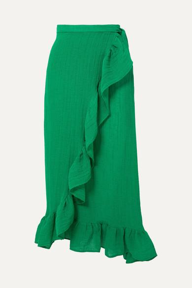 LISA MARIE FERNANDEZ | Lisa Marie Fernandez - Ruffled Linen-Blend Wrap Skirt - Green | Goxip