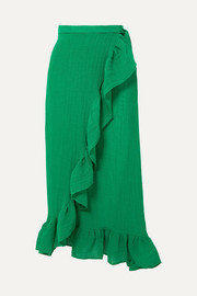Lisa Marie Fernandez Ruffled linen-blend wrap skirt