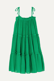 Lisa Marie Fernandez Ruffled tiered linen-blend dress