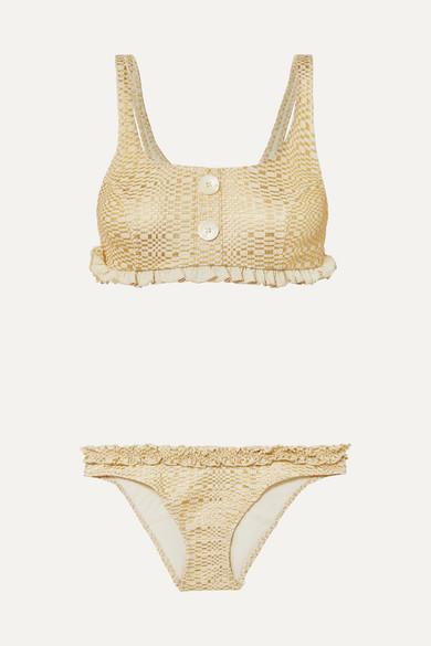 LISA MARIE FERNANDEZ | Lisa Marie Fernandez - Colby Ruffled Metallic Seersucker Bikini - Gold | Goxip