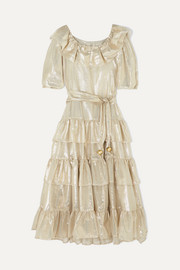 Lisa Marie Fernandez Eugenie ruffled tiered metallic cotton-blend dress
