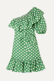 Lisa Marie Fernandez Arden ruffled one-shoulder polka-dot linen mini dress