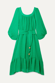 Lisa Marie Fernandez Laure belted linen-blend gauze midi dress