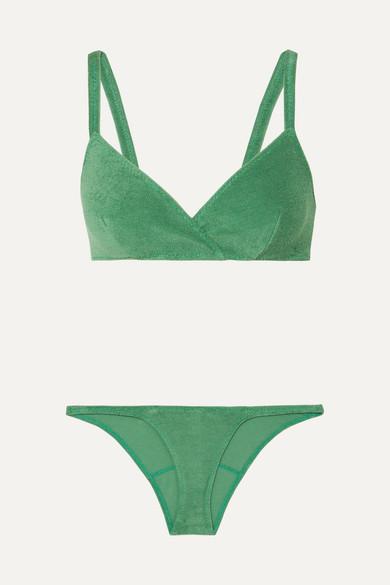 Bikini En Molleton De Coton Mélangé Yasmin - Vert