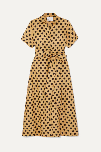 LISA MARIE FERNANDEZ | Lisa Marie Fernandez - Polka-Dot Linen Midi Dress - Sand | Goxip